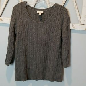 ann taylor loft gray cable knit sweater Large